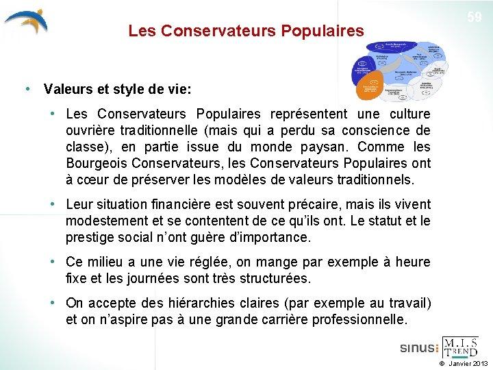 Les Conservateurs Populaires 59 • Valeurs et style de vie: • Les Conservateurs Populaires