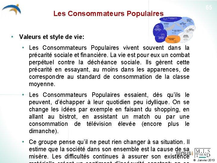 Les Consommateurs Populaires 65 • Valeurs et style de vie: • Les Consommateurs Populaires