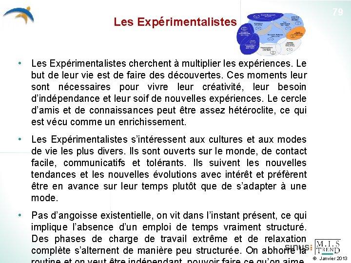 Les Expérimentalistes 79 • Les Expérimentalistes cherchent à multiplier les expériences. Le but de