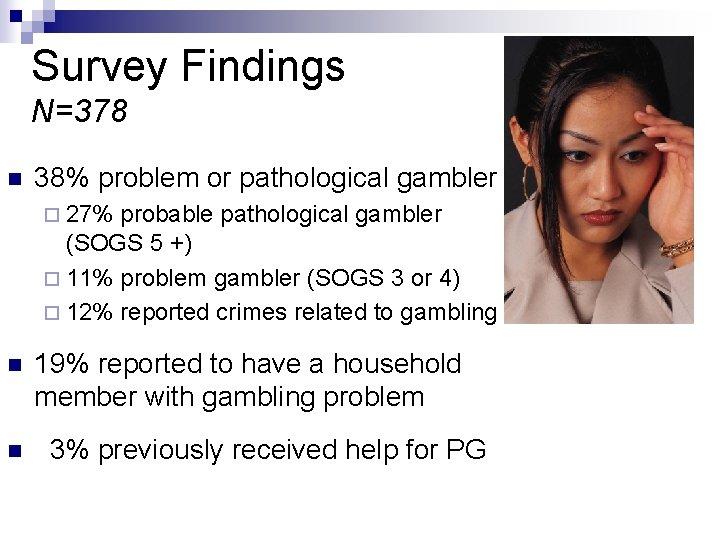 Survey Findings N=378 n 38% problem or pathological gambler ¨ 27% probable pathological gambler