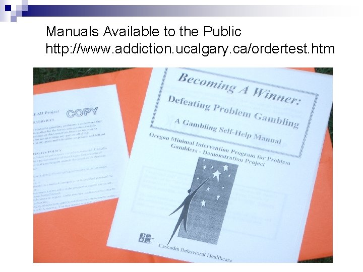 Manuals Available to the Public http: //www. addiction. ucalgary. ca/ordertest. htm