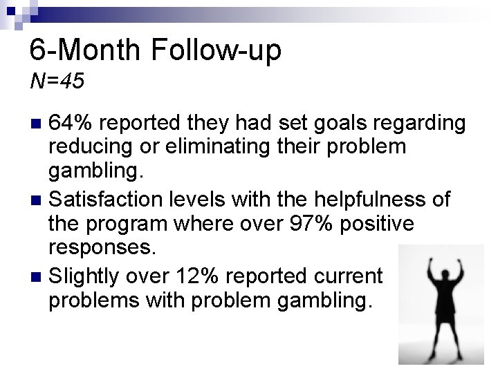 6 -Month Follow-up N=45 64% reported they had set goals regarding reducing or eliminating