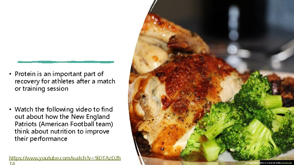 • Protein is an important part of recovery for athletes after a match
