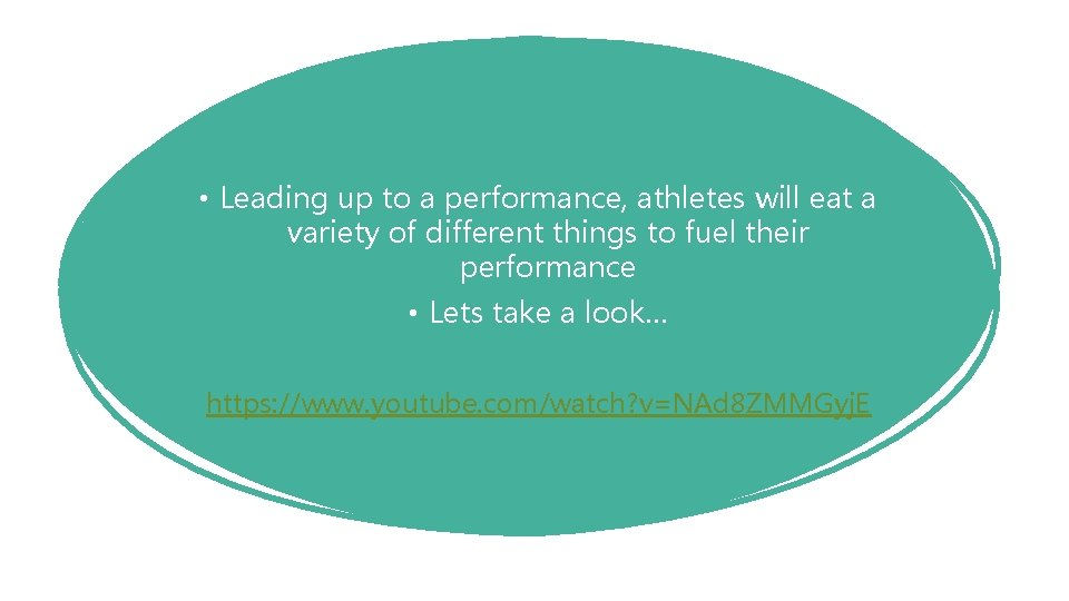 • Leading up to a performance, athletes will eat a variety of different