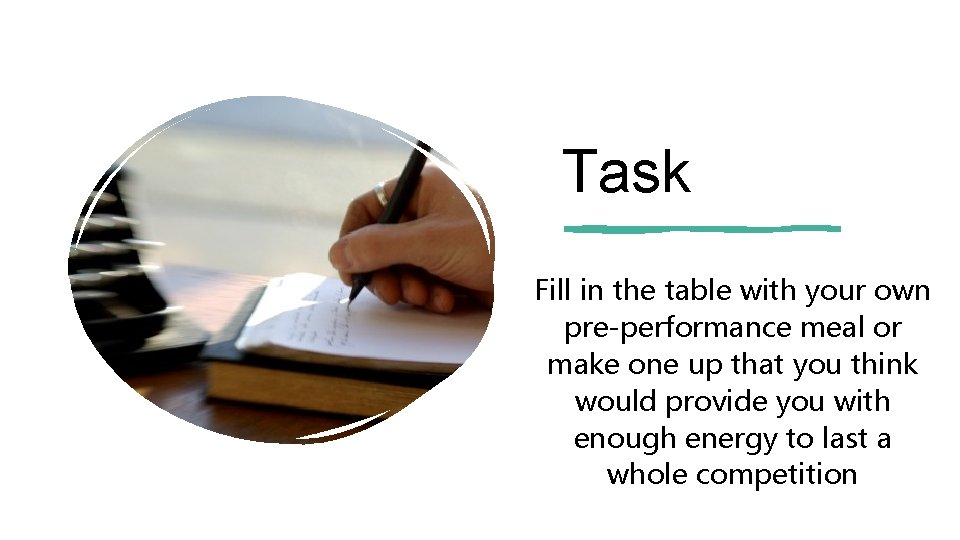 Task Fill in the table with your own pre-performance meal or make one up