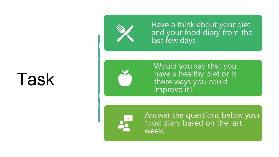 Have a think about your diet and your food diary from the last few