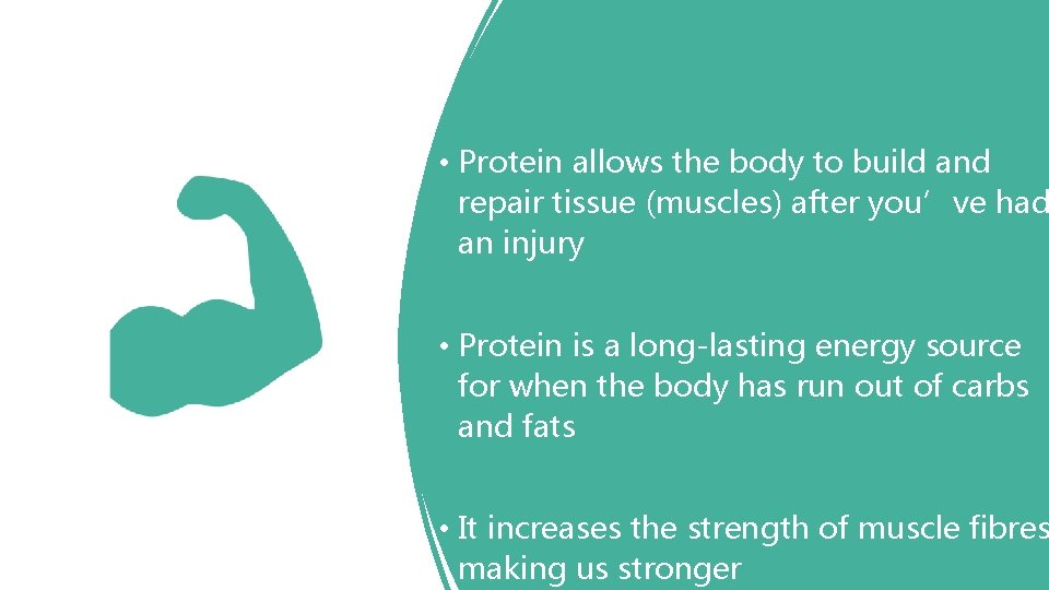 • Protein allows the body to build and repair tissue (muscles) after you've
