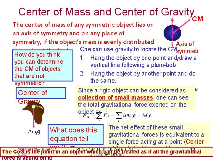 Center of Mass and Center of Gravity CM The center of mass of any
