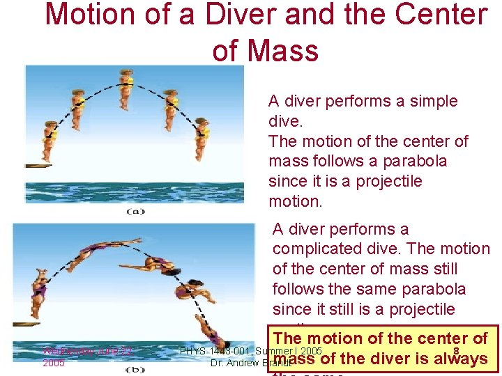 Motion of a Diver and the Center of Mass A diver performs a simple