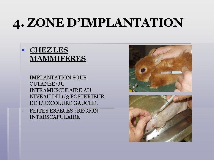 4. ZONE D'IMPLANTATION § CHEZ LES MAMMIFERES - - IMPLANTATION SOUSCUTANEE OU INTRAMUSCULAIRE AU