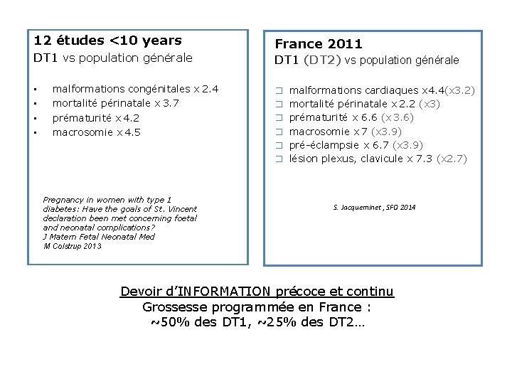 12 études <10 years DT 1 vs population générale • • malformations congénitales x2.