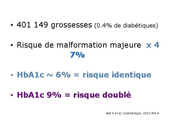 • 401 149 grossesses (0. 4% de diabétiques) • Risque de malformation majeure
