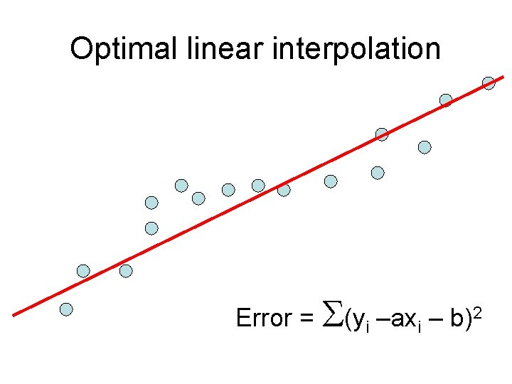 Optimal linear interpolation Error = S(yi –axi – b)2