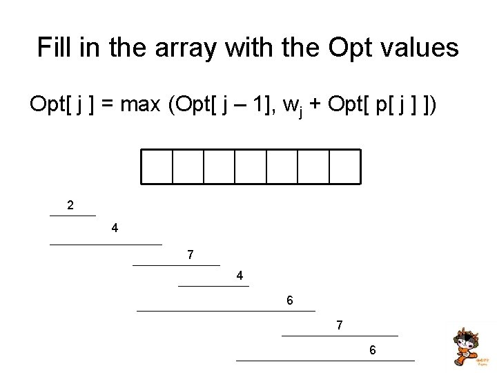 Fill in the array with the Opt values Opt[ j ] = max (Opt[