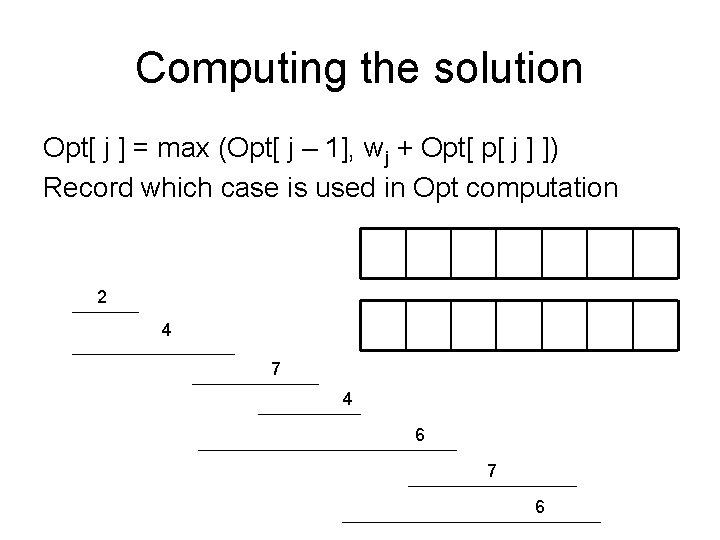 Computing the solution Opt[ j ] = max (Opt[ j – 1], wj +