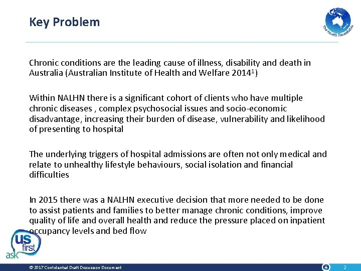 Key Problem Chronic conditions are the leading cause of illness, disability and death in