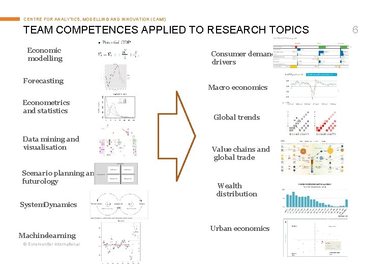 CENTRE FOR ANALYTICS, MODELLING AND INNOVATION (CAMI) TEAM COMPETENCES APPLIED TO RESEARCH TOPICS Economic