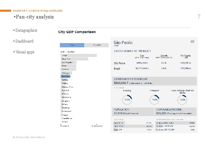 PASSPORT: CITIES SYSTEM OVERVIEW §Pan-city analysis § Datagraphics § Dashboard § Visual apps ©