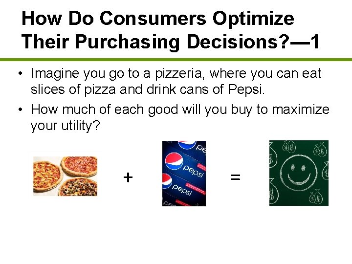 How Do Consumers Optimize Their Purchasing Decisions? — 1 • Imagine you go to