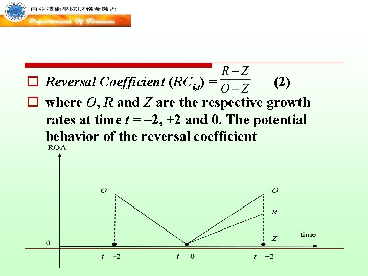 o Reversal Coefficient (RCi, t) = (2) o where O, R and Z are
