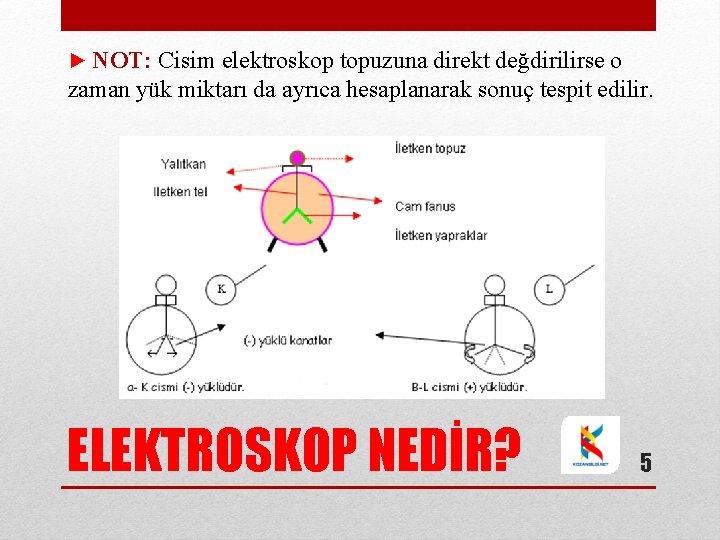 ► NOT: Cisim elektroskop topuzuna direkt değdirilirse o zaman yük miktarı da ayrıca hesaplanarak