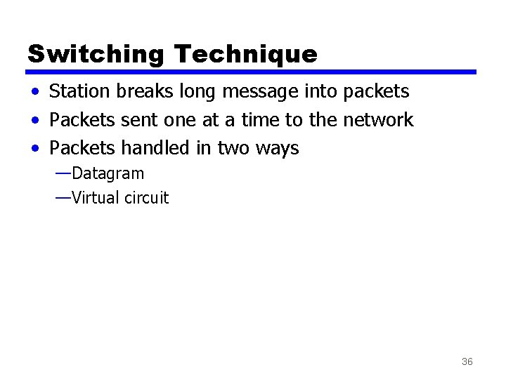 Switching Technique • Station breaks long message into packets • Packets sent one at