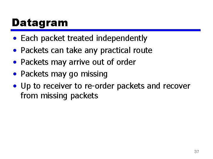 Datagram • • • Each packet treated independently Packets can take any practical route