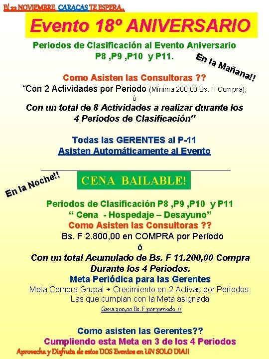 El 22 NOVIEMBRE CARACAS TE ESPERA. . Evento 18º ANIVERSARIO Periodos de Clasificación al