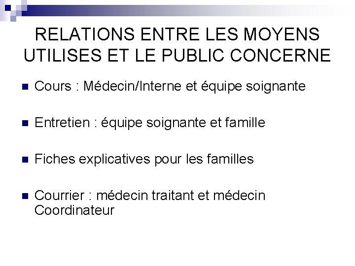 RELATIONS ENTRE LES MOYENS UTILISES ET LE PUBLIC CONCERNE n Cours : Médecin/Interne et