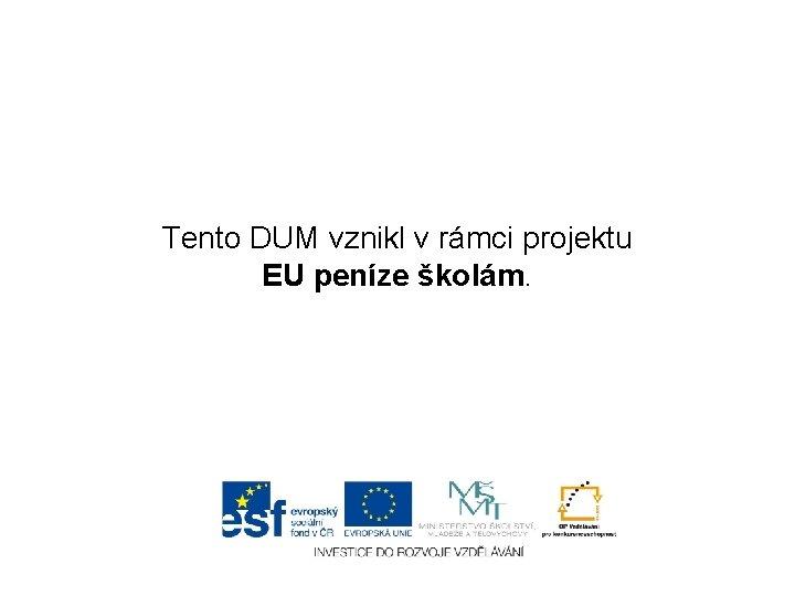 Tento DUM vznikl v rámci projektu EU peníze školám.