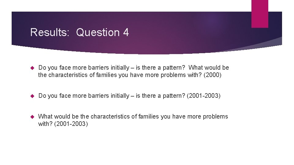 Results: Question 4 Do you face more barriers initially – is there a pattern?