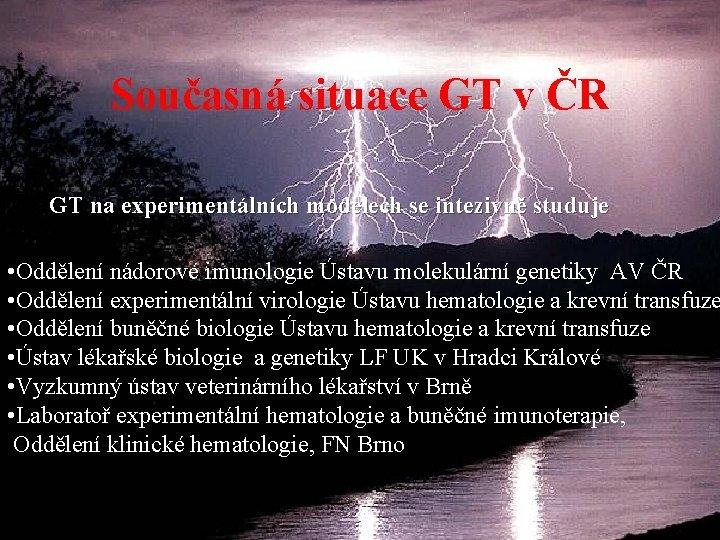 Současná situace GT v ČR GT na experimentálních modelech se intezivně studuje • Oddělení