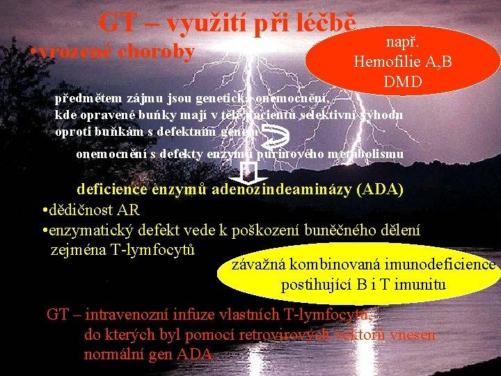 GT – využití při léčbě • vrozené choroby např. Hemofilie A, B DMD předmětem