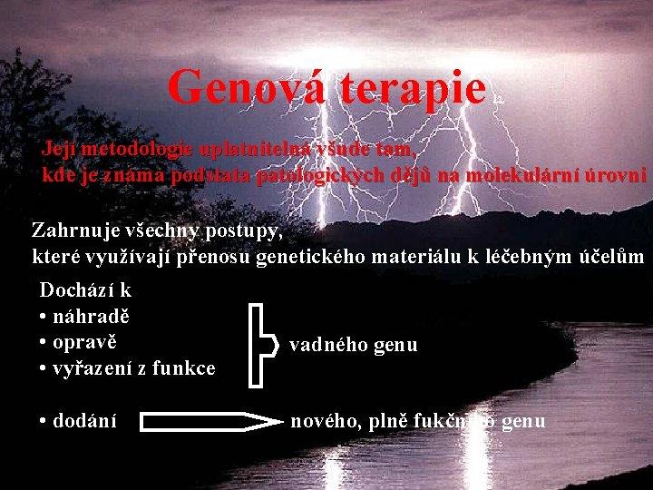 Genová terapie Její metodologie uplatnitelná všude tam, kde je známa podstata patologických dějů na