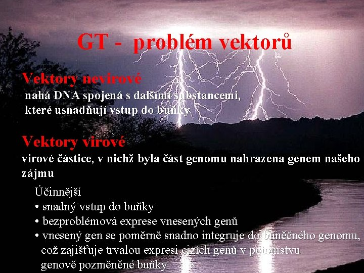 GT - problém vektorů Vektory nevirové nahá DNA spojená s dalšími substancemi, které usnadňují