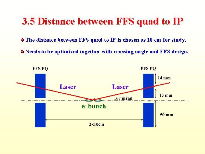 3. 5 Distance between FFS quad to IP The distance between FFS quad to