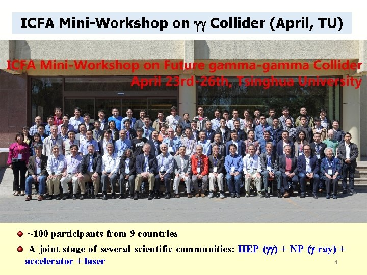ICFA Mini-Workshop on Collider (April, TU) ~100 participants from 9 countries A joint stage