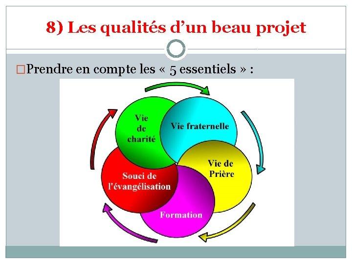 8) Les qualités d'un beau projet �Prendre en compte les « 5 essentiels »