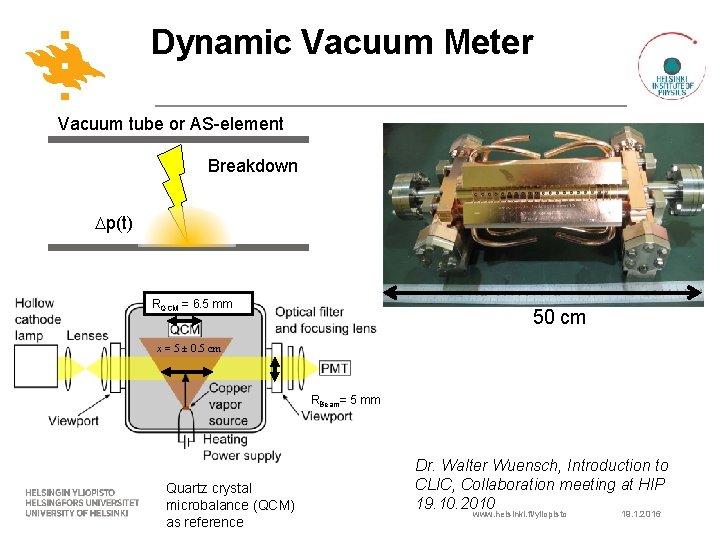 Dynamic Vacuum Meter Vacuum tube or AS-element Breakdown p(t) RQCM = 6. 5 mm