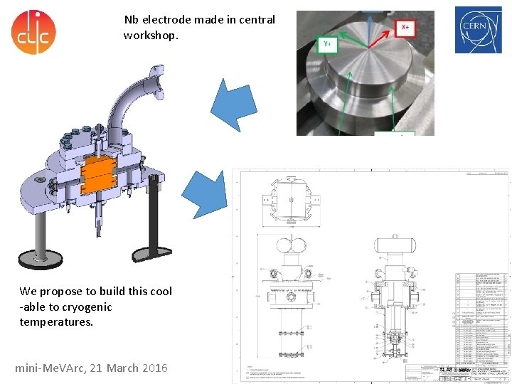 Nb electrode made in central workshop. We propose to build this cool -able to