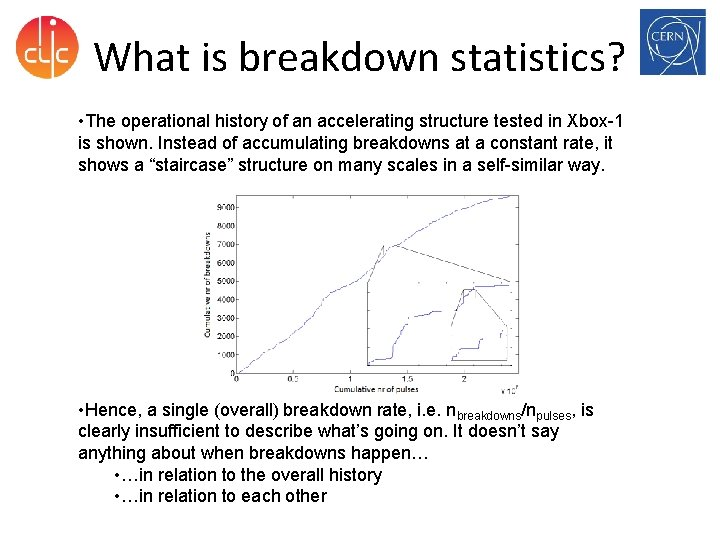 What is breakdown statistics? • The operational history of an accelerating structure tested in