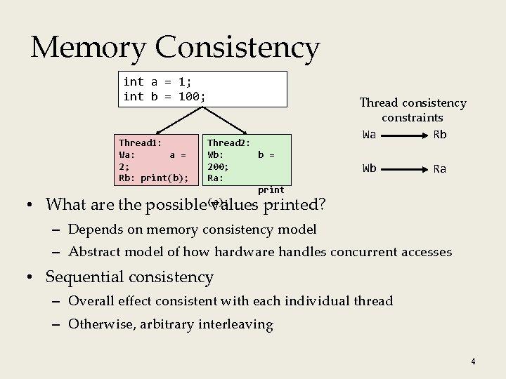 Memory Consistency int a = 1; int b = 100; Thread 1: Wa: a