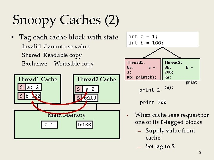 Snoopy Caches (2) • Tag each cache block with state Invalid Cannot use value