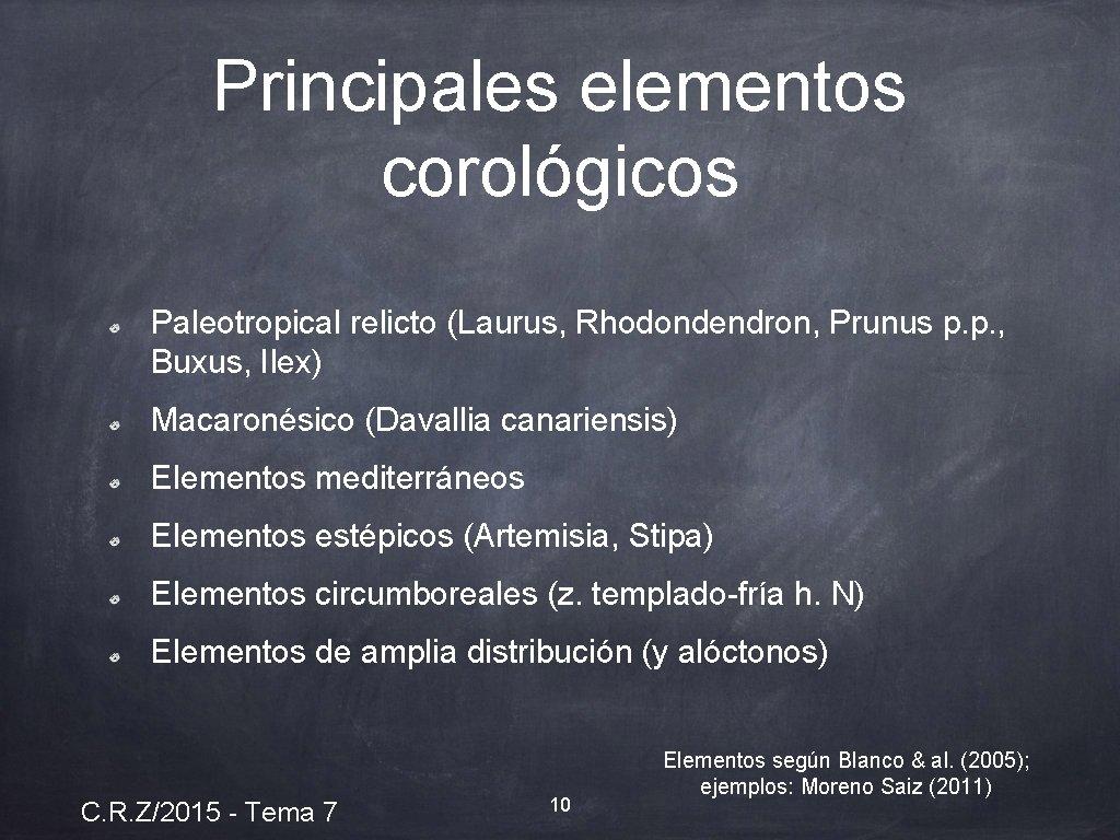 Principales elementos corológicos Paleotropical relicto (Laurus, Rhodondendron, Prunus p. p. , Buxus, Ilex) Macaronésico