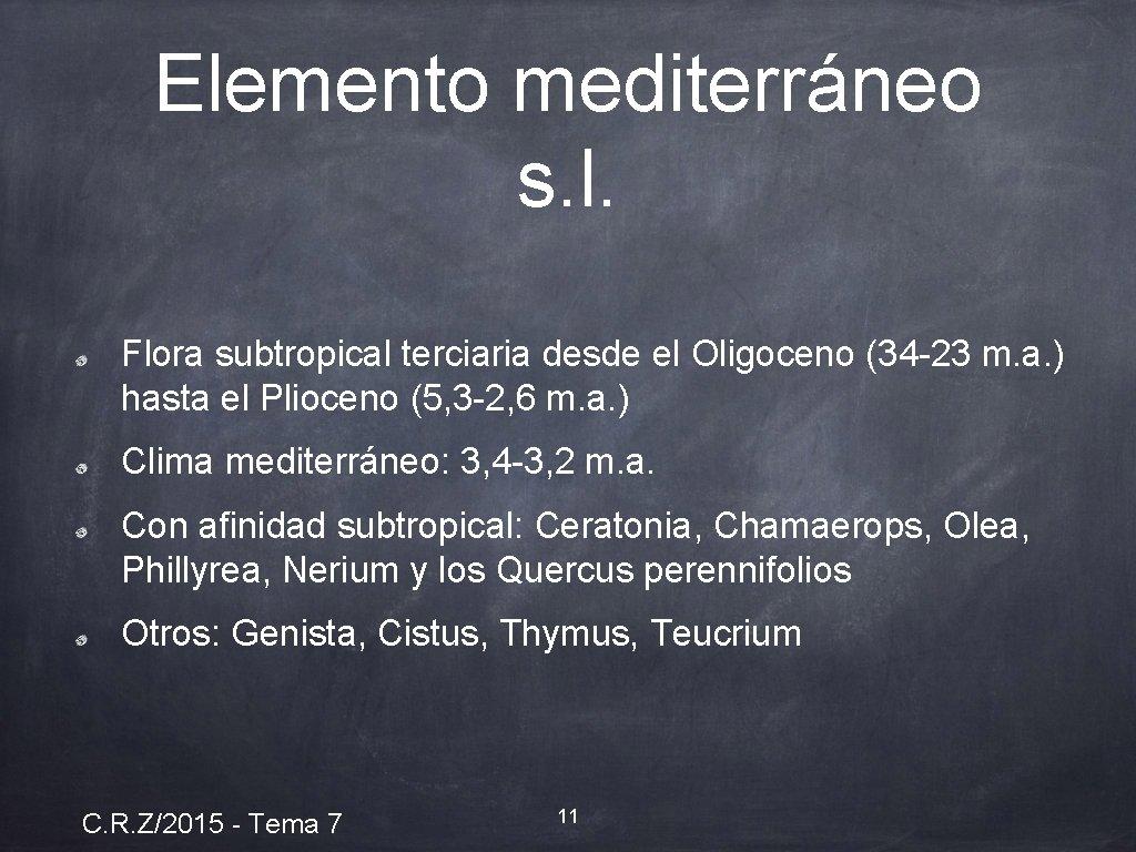 Elemento mediterráneo s. l. Flora subtropical terciaria desde el Oligoceno (34 -23 m. a.