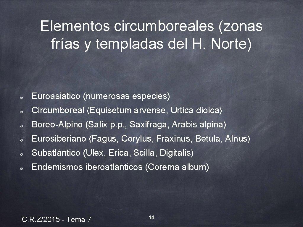 Elementos circumboreales (zonas frías y templadas del H. Norte) Euroasiático (numerosas especies) Circumboreal (Equisetum