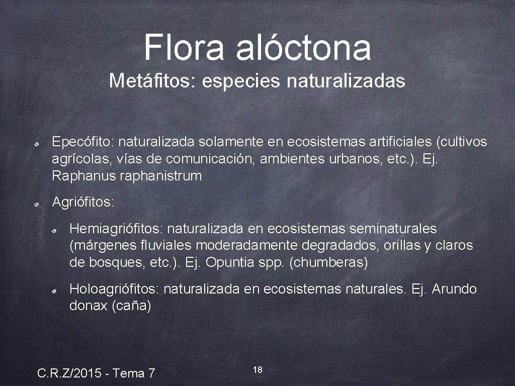 Flora alóctona Metáfitos: especies naturalizadas Epecófito: naturalizada solamente en ecosistemas artificiales (cultivos agrícolas, vías