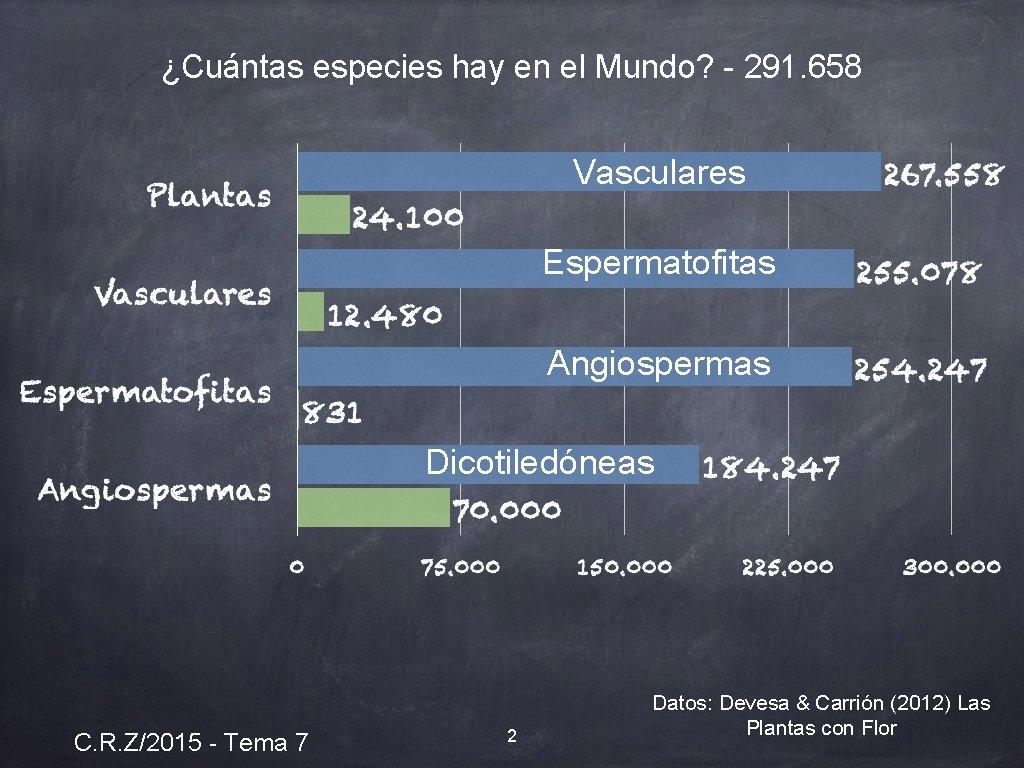 ¿Cuántas especies hay en el Mundo? - 291. 658 Vasculares Espermatofitas Angiospermas Dicotiledóneas C.