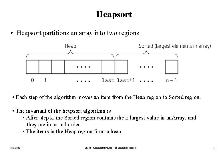 Heapsort • Heapsort partitions an array into two regions • Each step of the