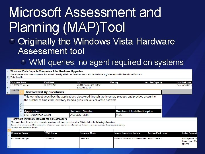 Microsoft Assessment and Planning (MAP)Tool Originally the Windows Vista Hardware Assessment tool WMI queries,